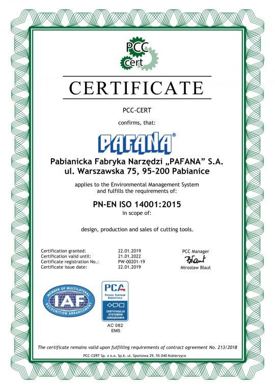 CERTYFICATE PN-EN ISO 14001:2015  VALID UNTIL 21.01.2022.