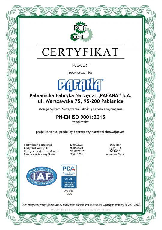 CERTYFIKAT PN-EN ISO 9001:2015 ważny do 26.01.2024.