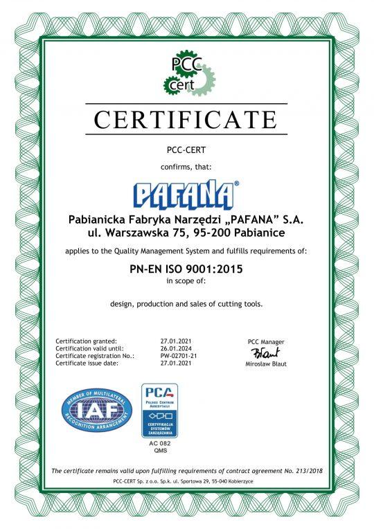 CERTYFICATE PN-EN ISO 9001:2015 VALID UNTIL 26.01.2024.