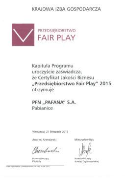 """ПРЕДПРИЯТИЕ """"FAIR PLAY""""  PAFANA 2015."""