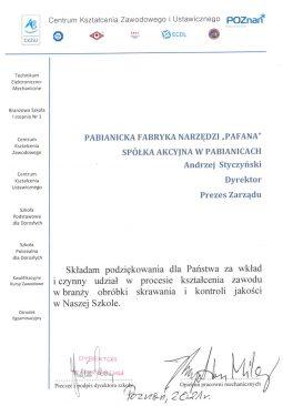 Podziękowania dla PAFANA S.A. od CKZiU Poznań 2021.
